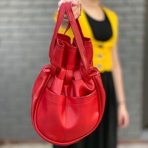 1960's siren red pvc drawstring bucket satchel bag